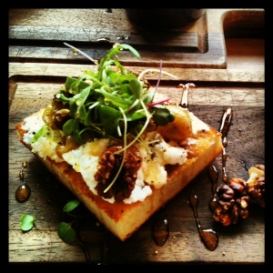 Roast Grape and Goats Cheese Bruschetta with walnuts and honey