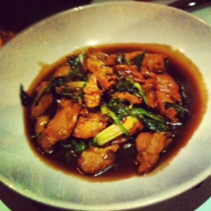 Wok Fried Pork Fillet with Wild Mushrooms, Garlic, Spinach and Sake Sauce