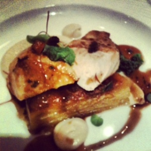 Chicken Breast with Celeriac Puree, Wild Mushrooms and Dauphinoise Potatoes