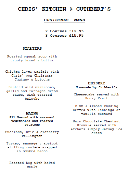 Chris's pop up kitchen at Cuthberts Bakehouse - Christmas menu